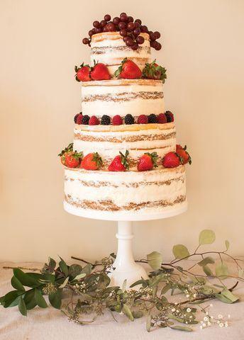 Semi naked cake with fresh fruit
