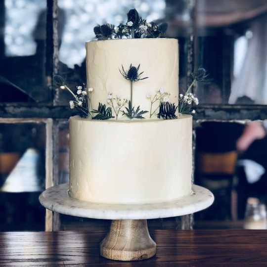 Textured buttercream with fresh thistles