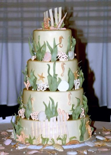 Sugar shells, sand dollars, sea grass and pearls on smooth buttercream tiers.....