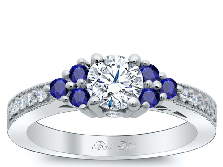 Tmx 1398965130294 Art Deco Diamond Engagement Ring With Sapphire Clu Los Angeles wedding jewelry