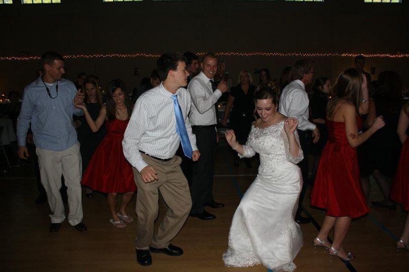 Bride breaking it down on the floor