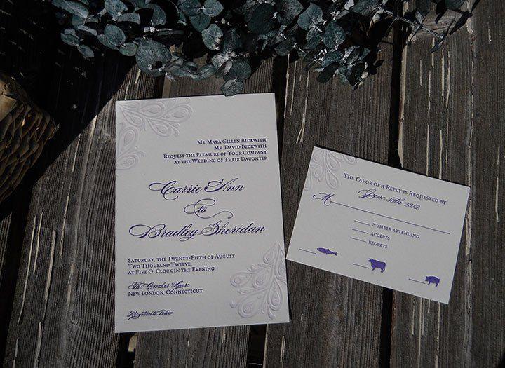 Custom letterpress wedding invitation and reply card in lavender. Kismet letterpress