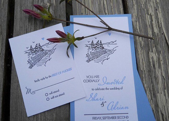 This fun beach side wedding invitation features a hand drawn illustration of the event destination....
