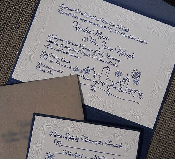 A Fenway Park wedding theme was the inspiration for this wedding invitation featuring a hand drawn...