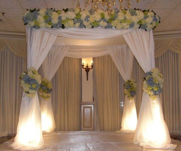 A FABULOUS CHOICE FOR ELEGANCE IN A CHUPPAH.  SOFTLY LIT, WITH FULL FLORAL HEADER AND FLORAL...