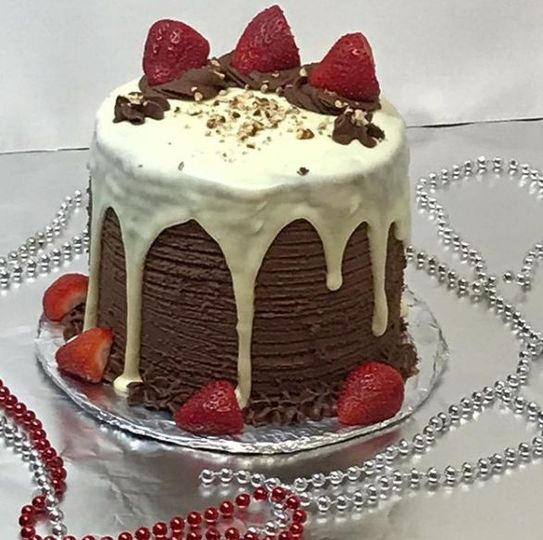 Strawberry-topped chocolate cake