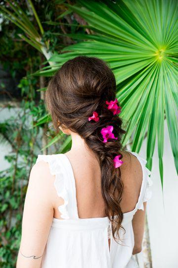 Hair with floral decor