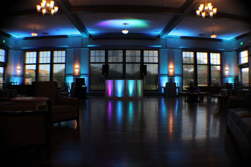 Blue uplighting in the venue