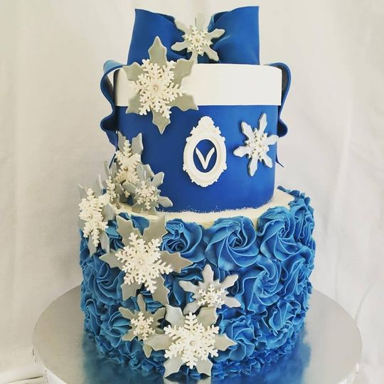 Blue wedding cake with snowflakes