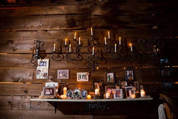 Framed photos and candles