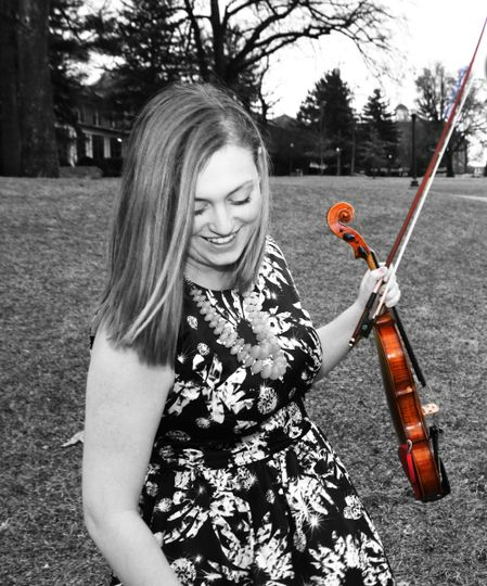 Danielle, founder and musician of 757 Strings, in between songs at a beautiful wedding on the James...