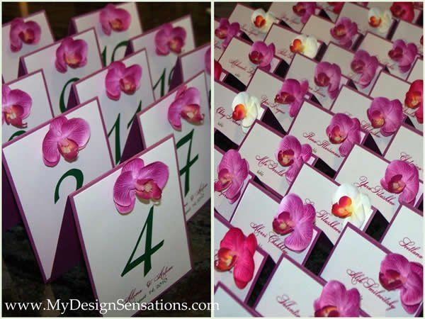 Handmade table and place cards, orchids theme