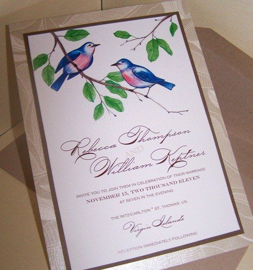 Birds theme wedding invitations