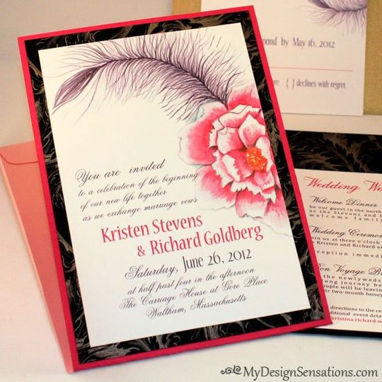 Black Feather and Peony wedding invitation design, Vintage wedding theme