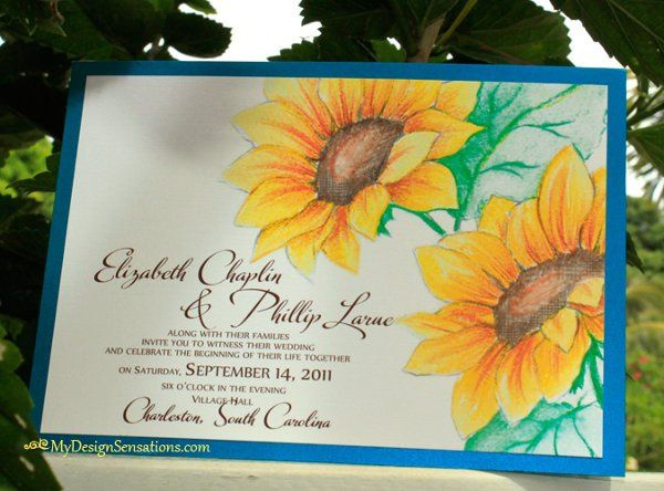 Sunflowers wedding invitation, Blue + Yellow wedding colors