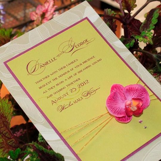 Orchid wedding invitation, 3D wedding invitations,