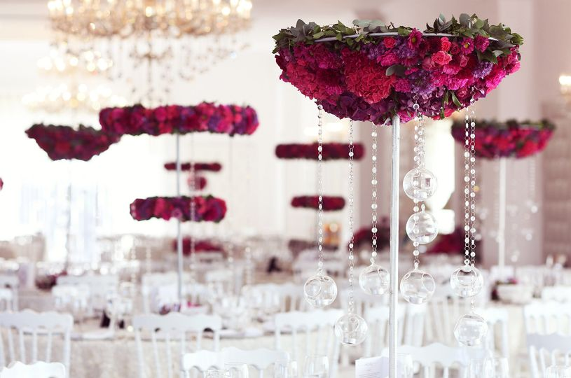 Red floral table decorations
