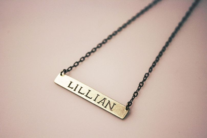 Custom, hand-cut brass nameplate necklace. (Also available in sterling silver) Great for bridesmaid...