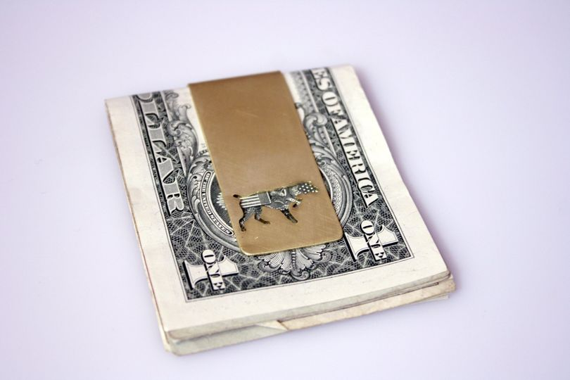 Custom Brass Pointer Money Clip for the dad of the groom