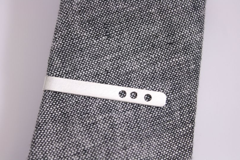 Sterling Silver Triple Hole Skinny Tie Bar