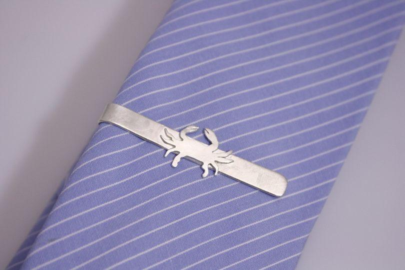 Sterling Silver Crab Skinny Tie Bar