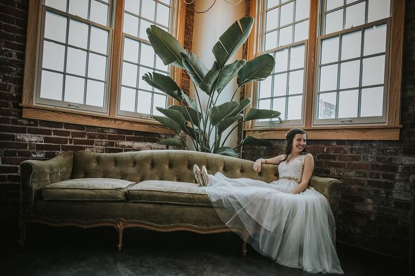 Bride on corner couch