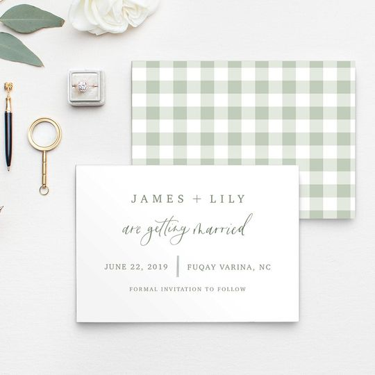 Gingham Save the Date