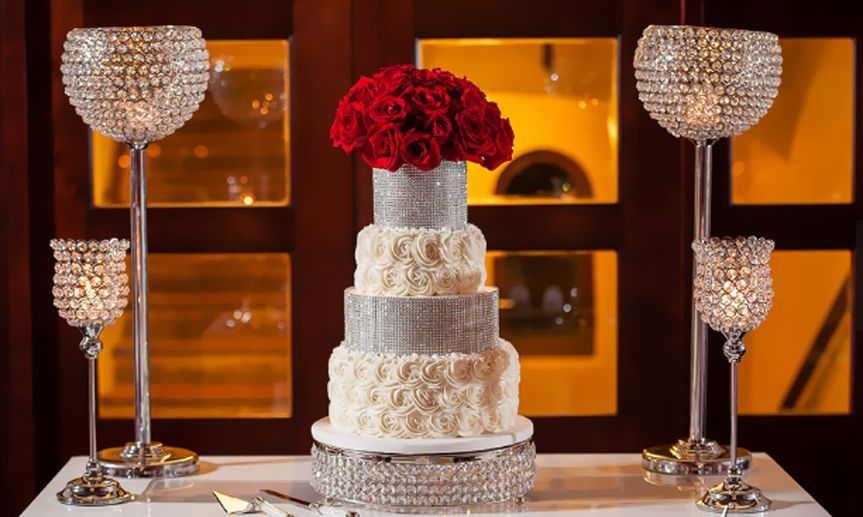 Wedding cake with rose topper