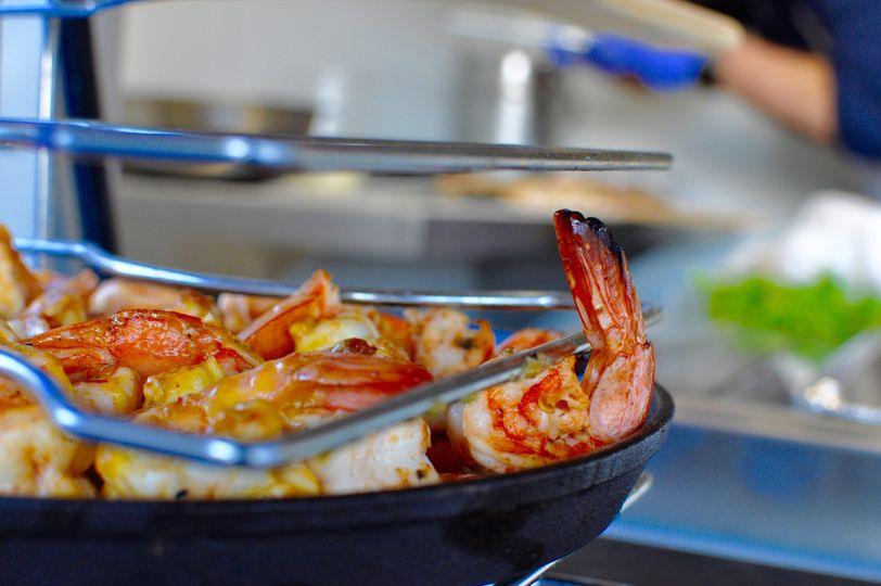 Wood-fired fire cracker shrimp