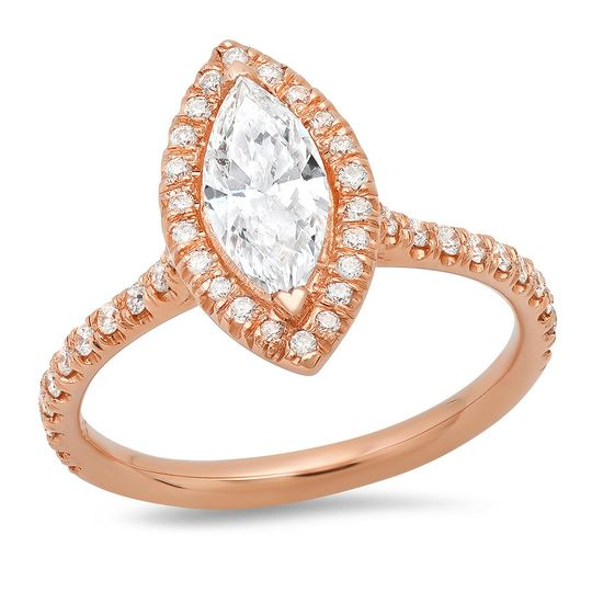 Marquise halo rose gold ring