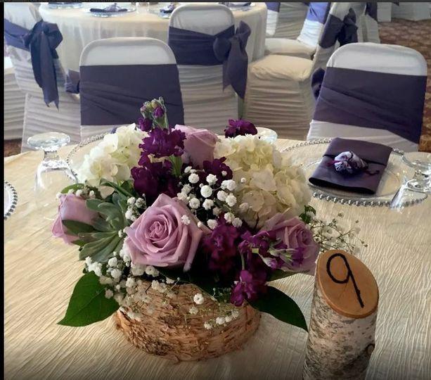 Purple floral- Rustic decor