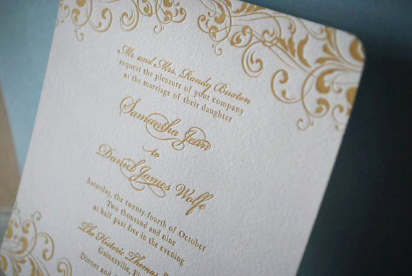 Classic ornate golden letterpress invitation