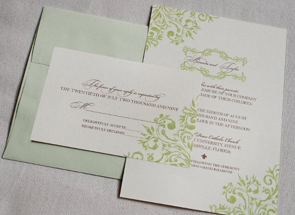 Perfect garden wedding letterpress invitation suite