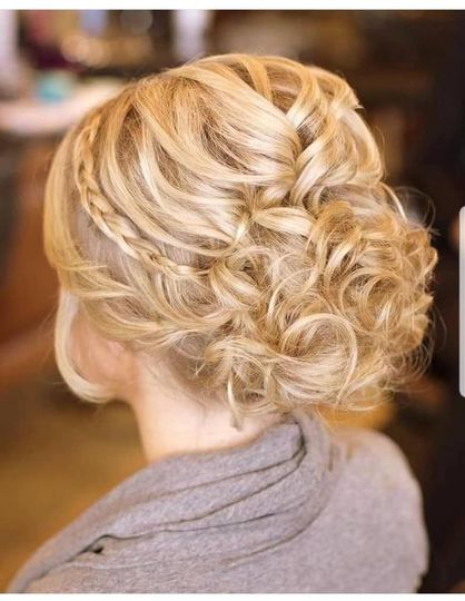 Updo with curls & braid accent