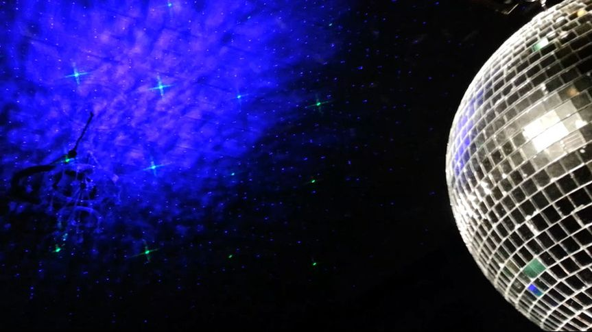 Night sky laser with mirror ball