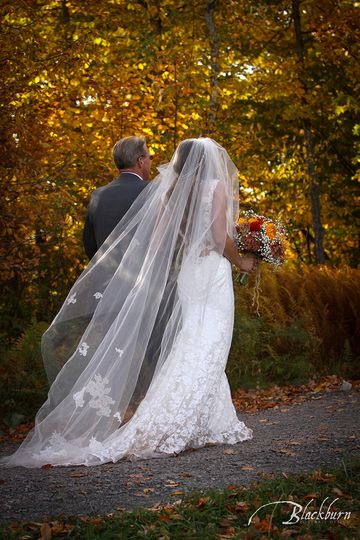 Katee and her Dad at her Fall Wedding at Windham Mountain Resort.