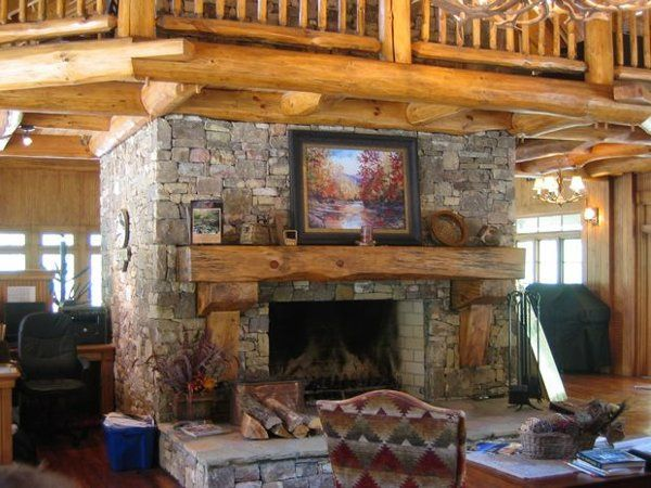 Massive Stone Fireplace at the Lodge