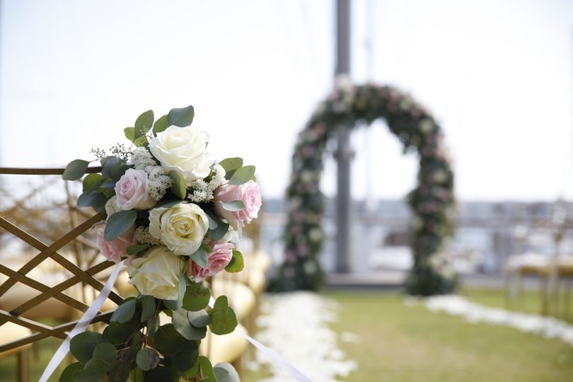 Blissfully romantic wedding at The California Yacht Club in Marina Del Rey - Florals and Events...