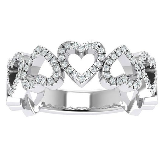 Silver ring with hearts