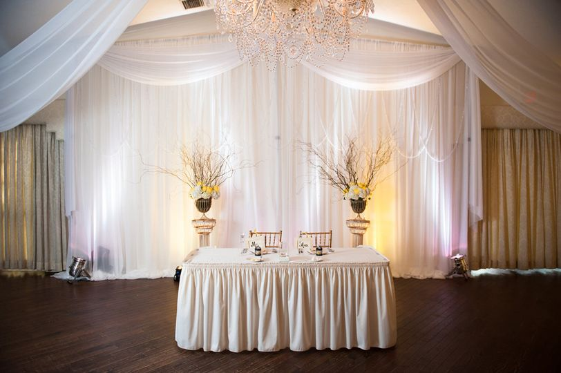Custom draping in white chiffon by W Drapings for a wedding reception at Highland Manor Apopka....