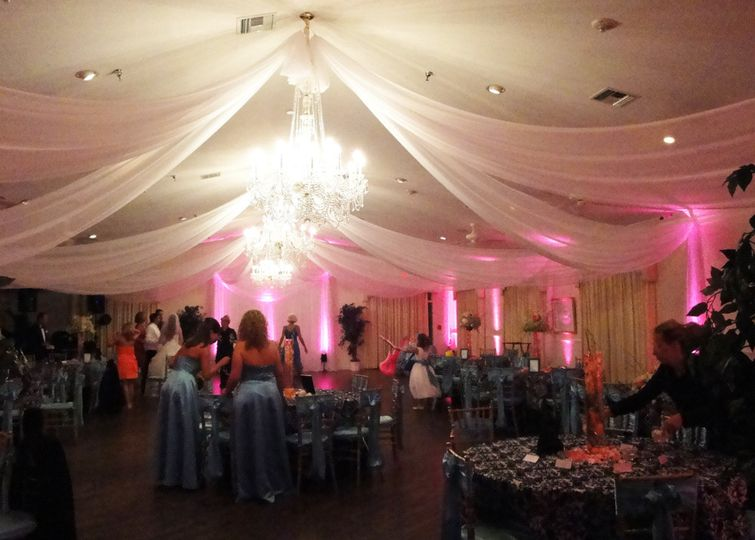 Ceiling treatments in white chiffon made-to-size for a wedding reception at beautiful Highland Manor...
