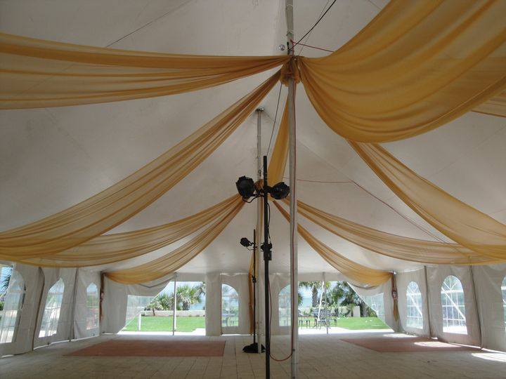 Event draping in gold chiffon for an outdoor tent. Photo and drapes by W Drapings.
