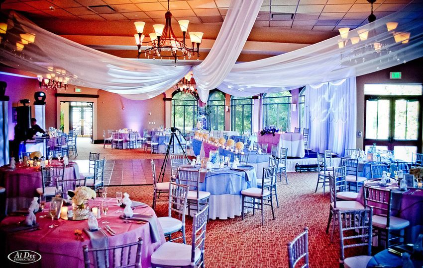 Chiffon draping by W Drapings for a wedding reception at Mystic Dunes Resort in Kissimmee, FL. Photo...