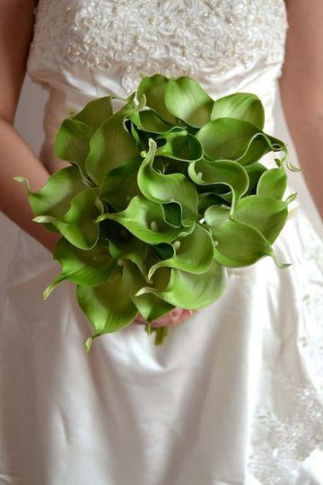 Green calla lily bouquet