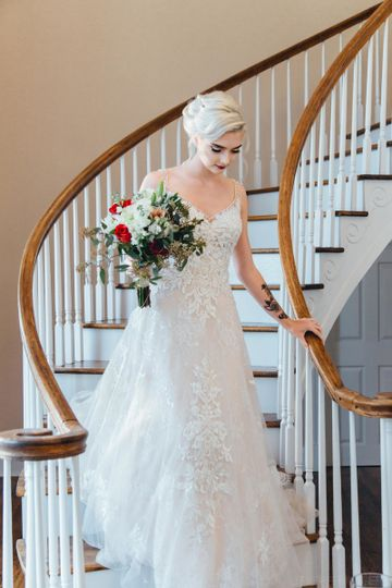 The bride by the staircase