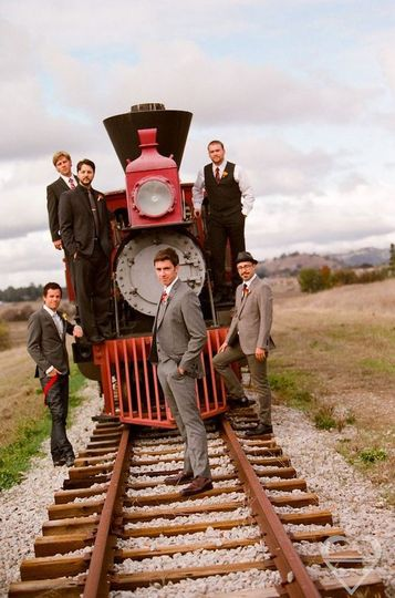 Groomsmen by the Steam TrainPhotography by: Barbara Alessandra Photography