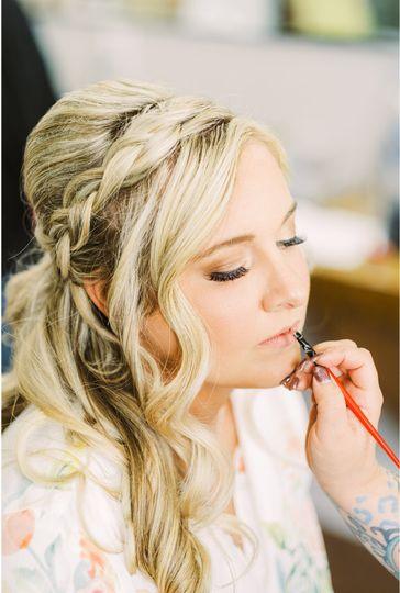 Blush makeup & hair