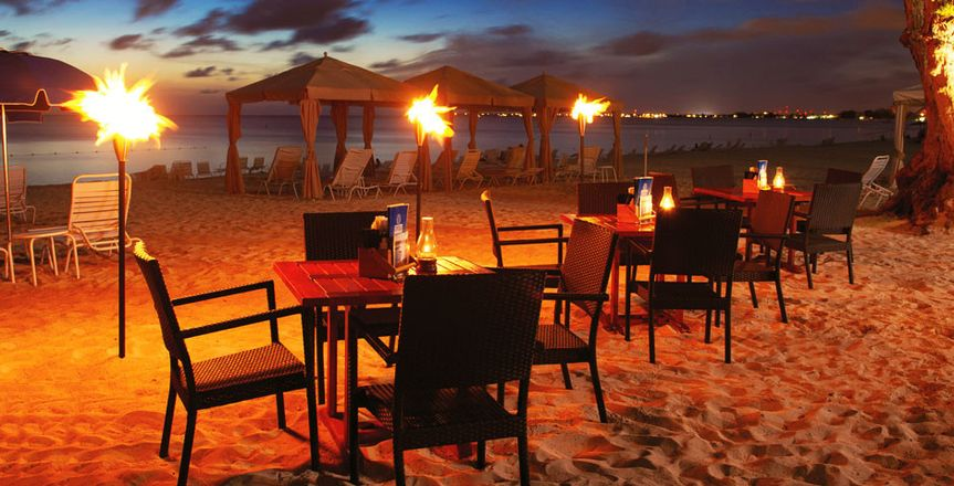Sunset ceremony on the beach