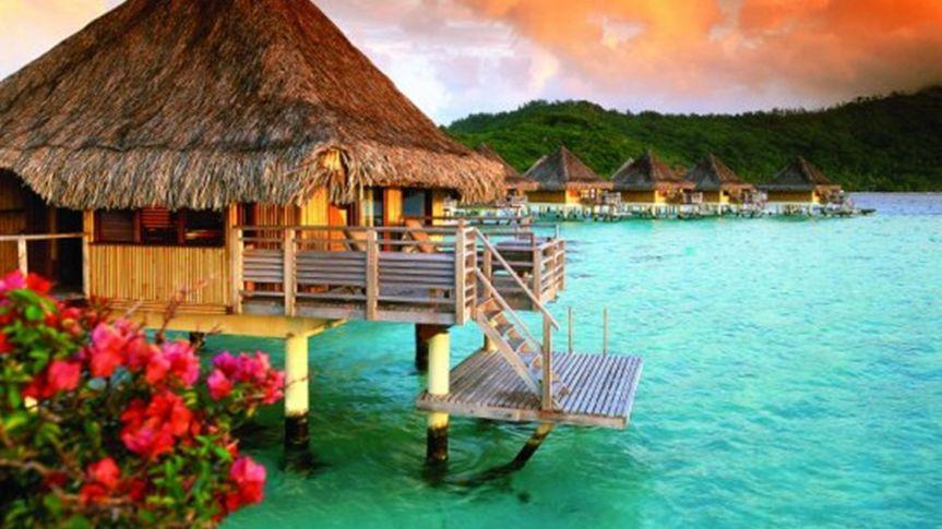 Romantic overwater bungalows