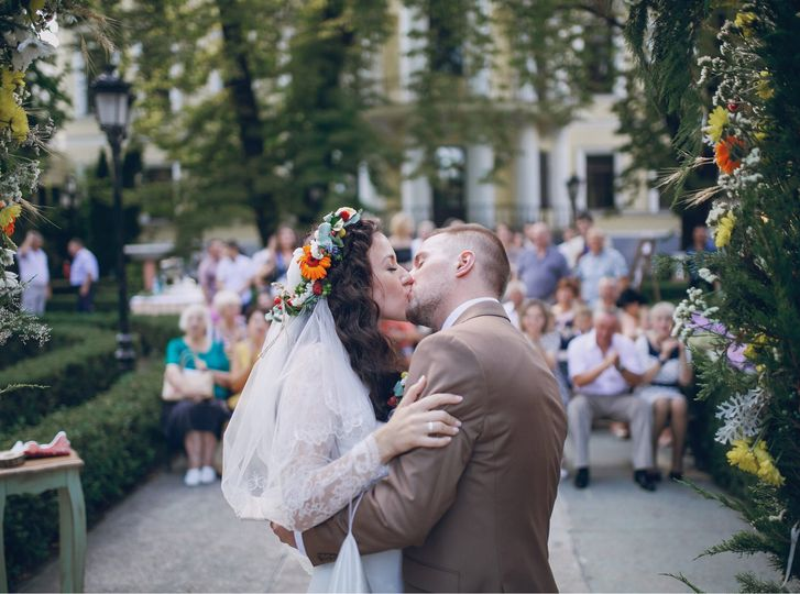 The kiss at the end of the ceremony